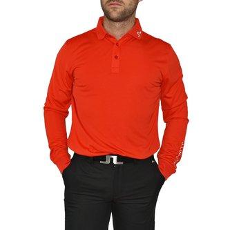 J.Lindeberg Tour Tech Reg TX Long Sleeve Golf Shirt - Racing Red - Image 1