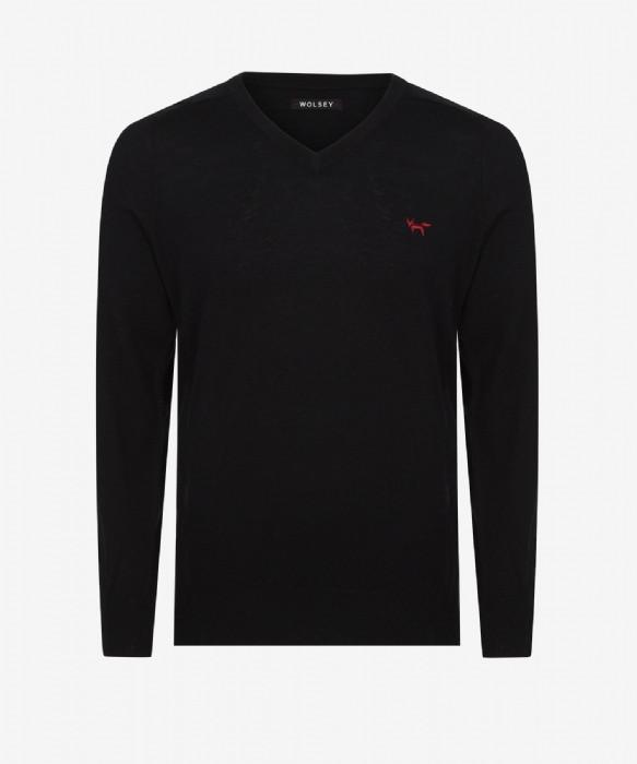 Merino V-Neck Sweater - Black - Image 1