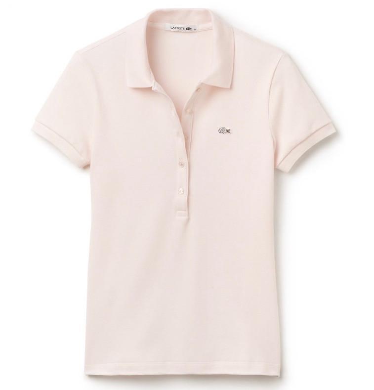 Slim 5 Button Stretch Polo - Pink Flamingo - Image 1