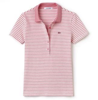 Two Tone Stripe Slim Fit Polo - Flamingo - Image 1