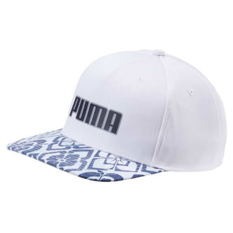 Puma Golf Mens White and Peacoat Comfortable Go Time Flex Snapback Cap - Image 1