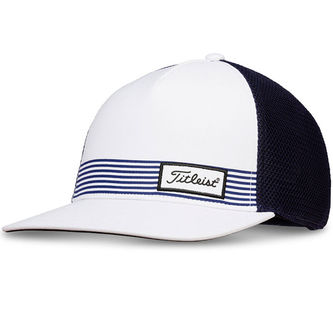 Titleist Mens White and Navy Blue Comfortable Surf Stripe Cap - Image 1