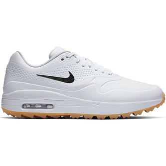 Nike Golf Mens White and Light Brown Air Max 1G Regular Golf Shoes - Image 1