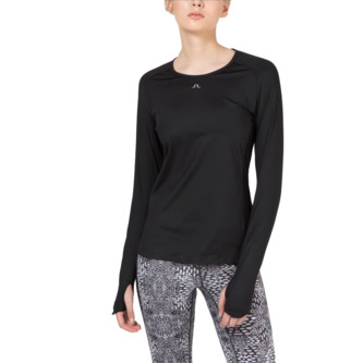 J.Lindeberg Womens Celeste Tech Long Sleeve Top - Black - Image 1