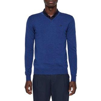 J.Lindeberg Newman V-Neck Tour Merino Sweater - Work Blue - Image 1