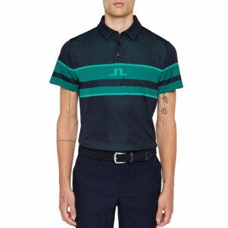 J.Lindeberg Cole TX Jacquard Polo Golf Shirt - Navy - Image 1