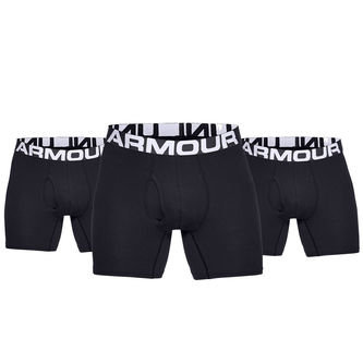 "Under Armour Mens Black Charged Cotton 6"" 3-Pack Boxers - Image 1"