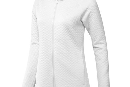 adidas Golf Ladies White Long Lasting Textured Full-Zip Midlayer - Image 1