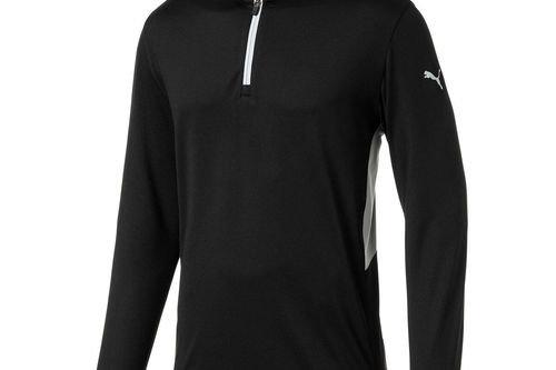 PUMA Golf Mens Black Comfortable Rotation 1/4 Zip Midlayer - Image 1